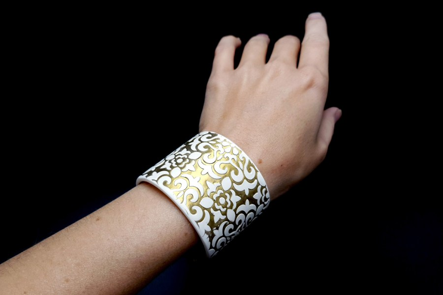 White&Gold polymer clay bracelet