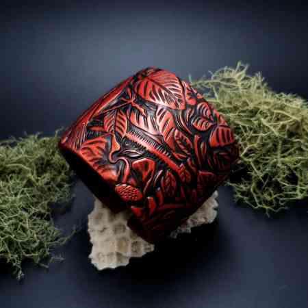 "Bracelet ""Red Wood"" Polymer clay"