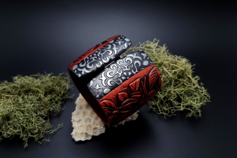 "Bracelet ""Red Wood"" Polymer clay 2"