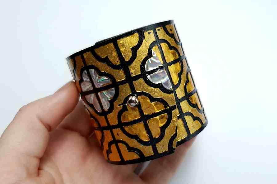 """""""Gold"""" Polymer clay bracelet 3"""