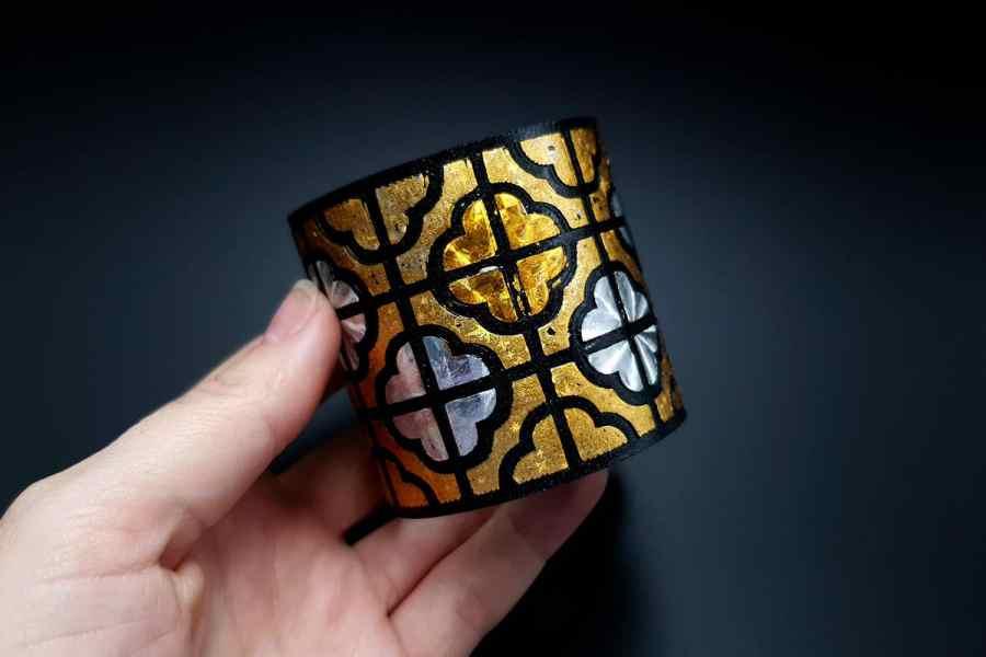 """""""Gold"""" Polymer clay bracelet 5"""
