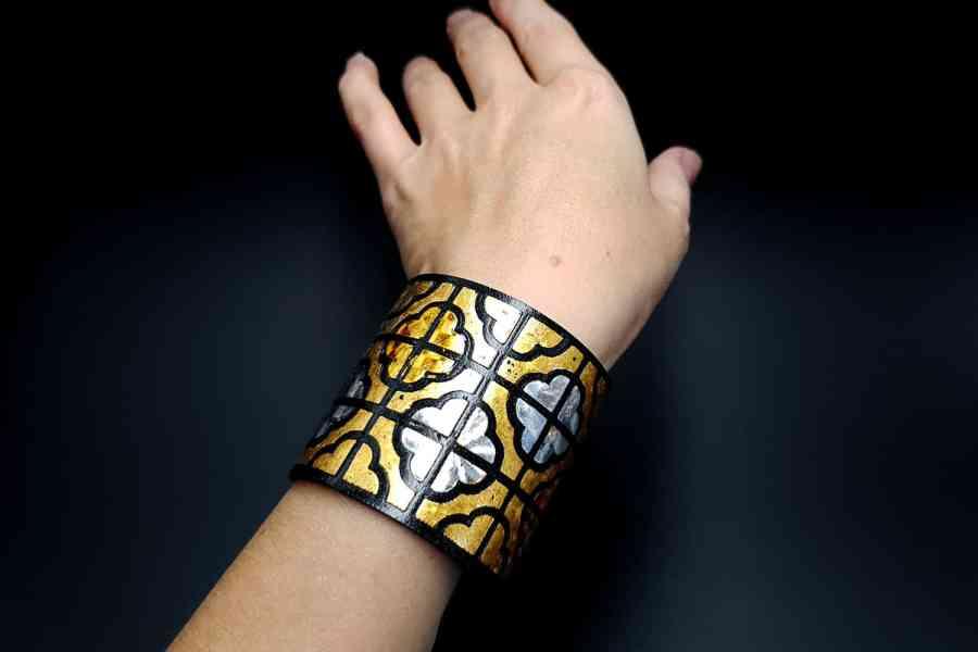 """""""Gold"""" Polymer clay bracelet 7"""