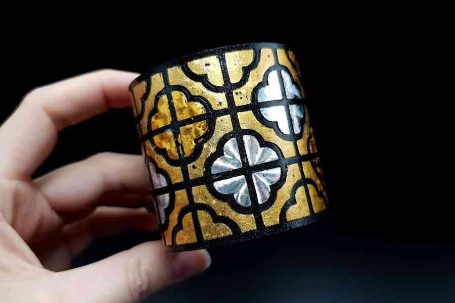 """""""Gold"""" Polymer clay bracelet 10"""