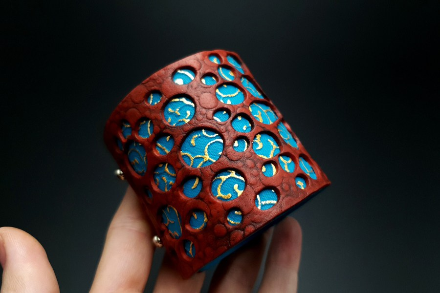 """Blue Flower"" Polymer clay Bracelet 2"
