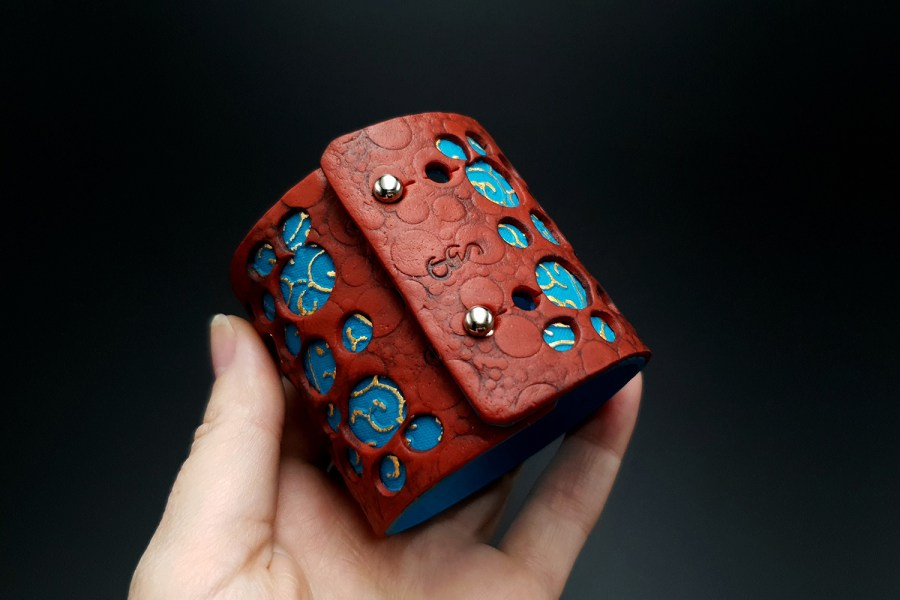 """Blue Flower"" Polymer clay Bracelet 4"