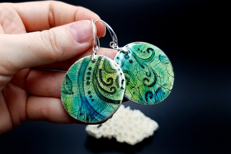 """""""Old Ceramic"""" Polymer clay earrings 3"""