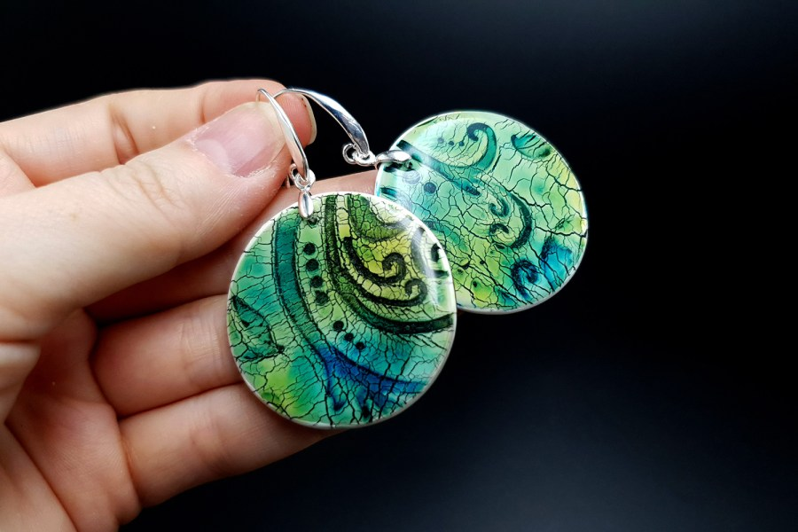 """""""Old Ceramic"""" Polymer clay earrings 4"""