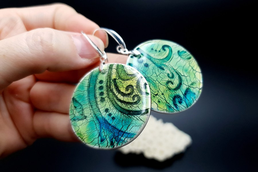 """""""Old Ceramic"""" Polymer clay earrings 6"""