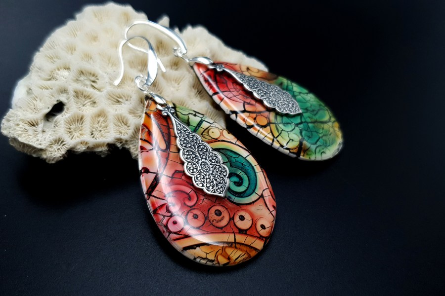 """Fantazy Ceramic"" Polymer clay Earrings 2"