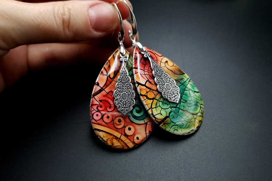 """Fantazy Ceramic"" Polymer clay Earrings 7"