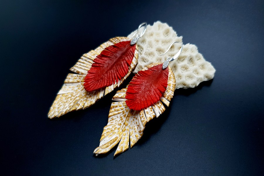 """Feathers"" Faux leather earrings 1"