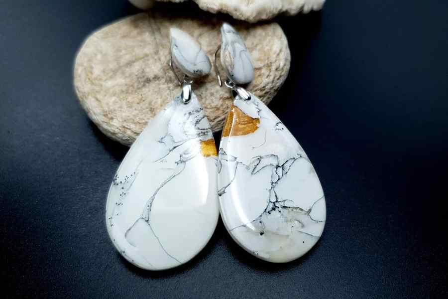 """White Marble"" Faux marble earrings"