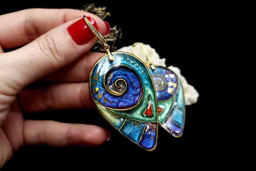 """Magic Swirls"" polymer clay earrings 4"