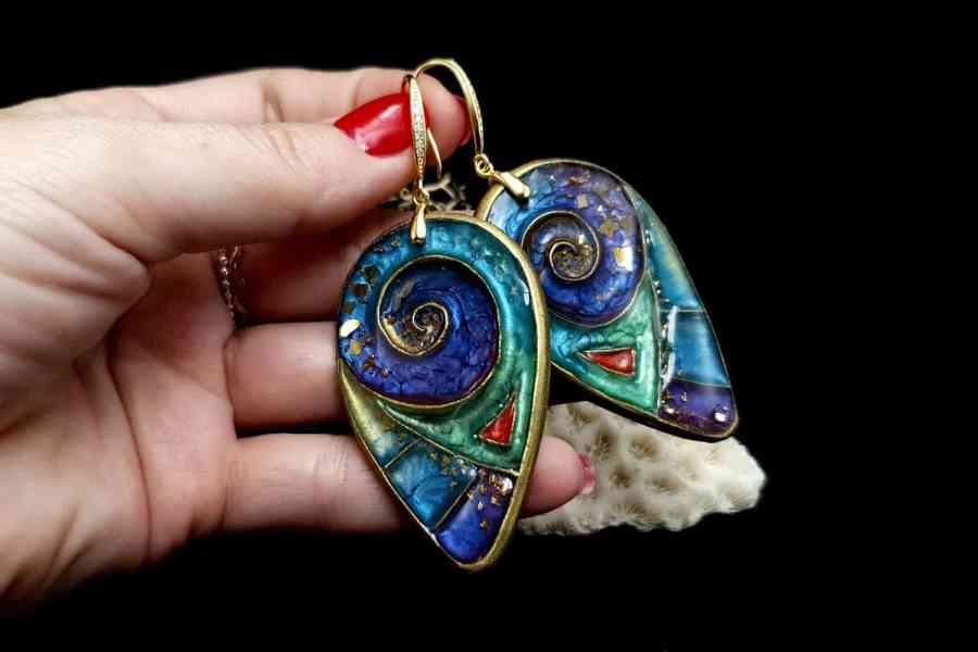 """Magic Swirls"" polymer clay earrings 5"