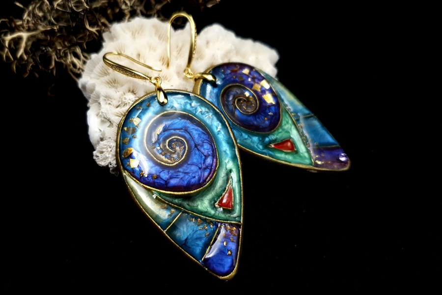 """Magic Swirls"" polymer clay earrings 1"