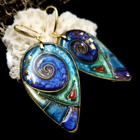 """Magic Swirls"" polymer clay earrings"