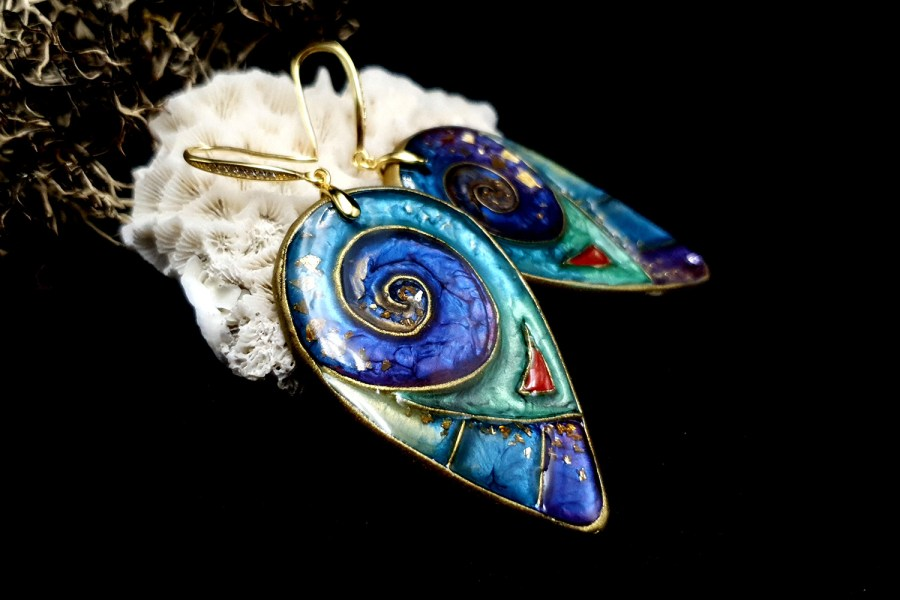 """Magic Swirls"" polymer clay earrings 8"