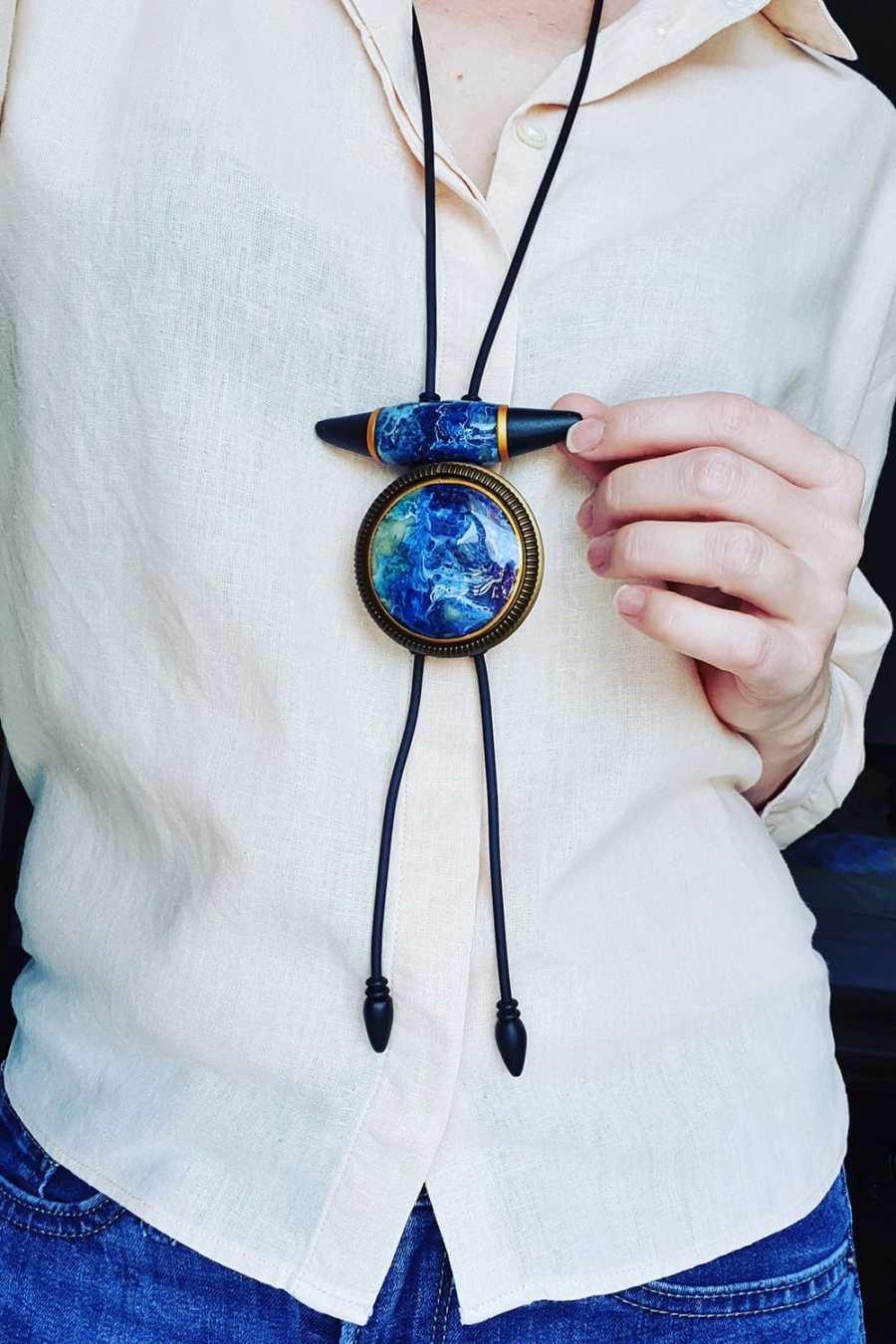 "Long Pendant ""Blue Lagune"""