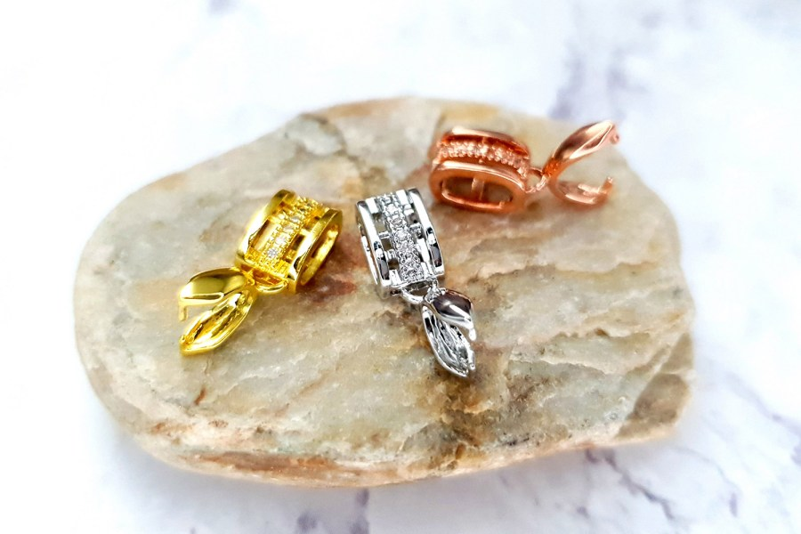 3 Pcs Set Of High Quality Golden, Silver And Rose Gold Crystals Pendant Pinch Bail 1