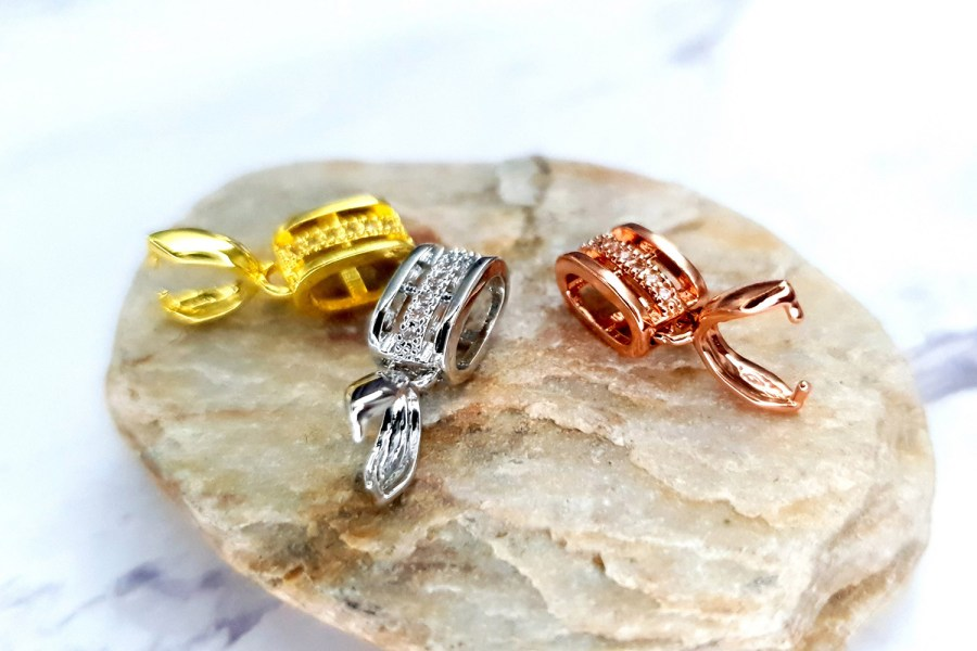 3 Pcs Set Of High Quality Golden, Silver And Rose Gold Crystals Pendant Pinch Bail 2