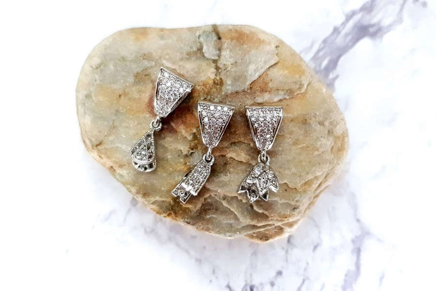 3 Pcs Set Of High Quality Silver Crystals Pendant Pinch Bail 1