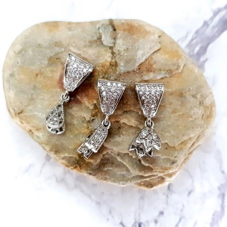 3 high quality silver crystals pendant pinch bail
