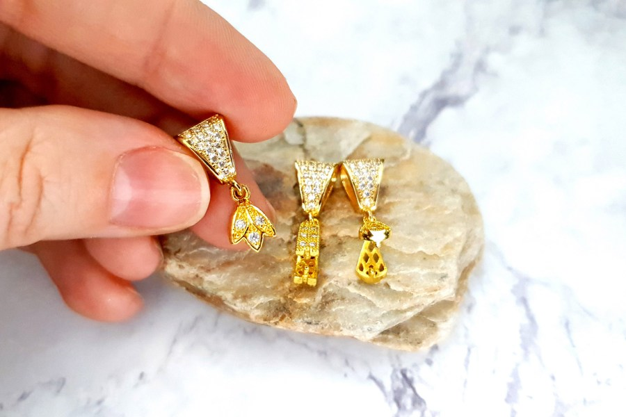 3 Pcs Set Of High Quality Golden Crystals Pendant Pinch Bail 3