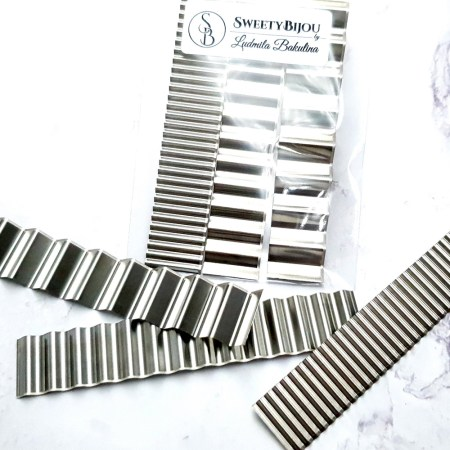 3 Silver Stainless Steel Clay Flexible Wavy Blades