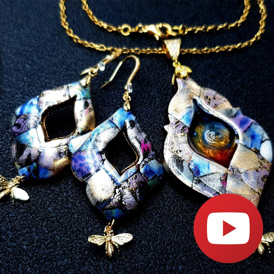 How to make colorful patchwork jewelry set 1
