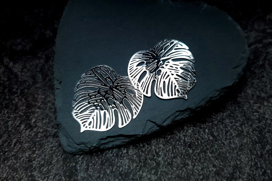 Pair of silver color exotic leafs charms for earrings