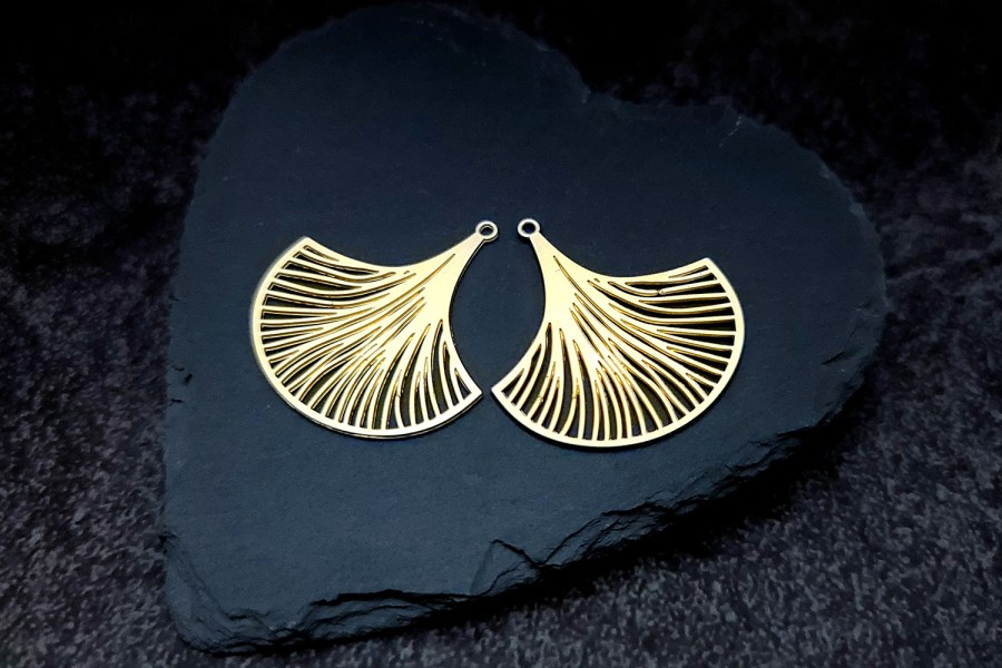 Pair of golden exotic leafs charms for earrings unusual shape 1