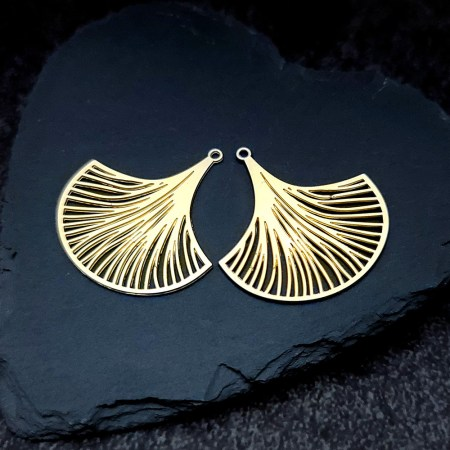 Pair of golden exotic unusual leafs charms for earrings
