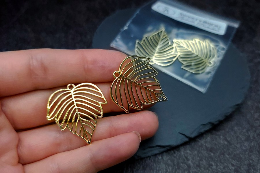 Pair of gloss golden color beautiful leafs charms for earrings 10