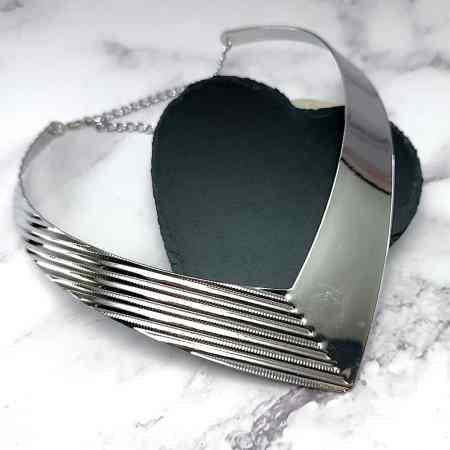 V Shape Silver color metal base necklace