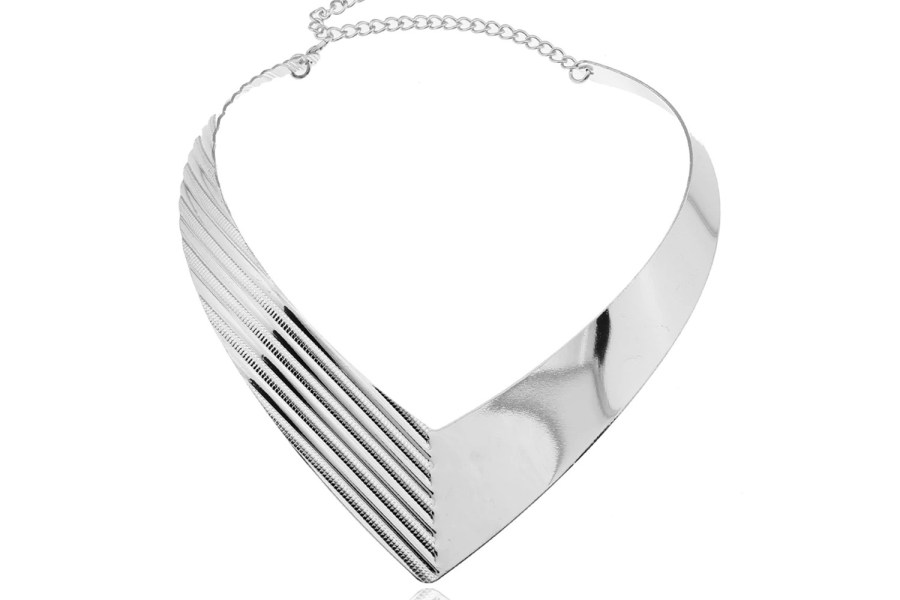 V Shape Silver color metal base necklace 13