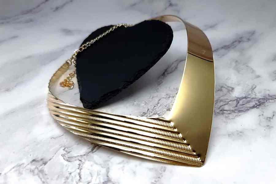 V Shape Golden color metal base necklace 5