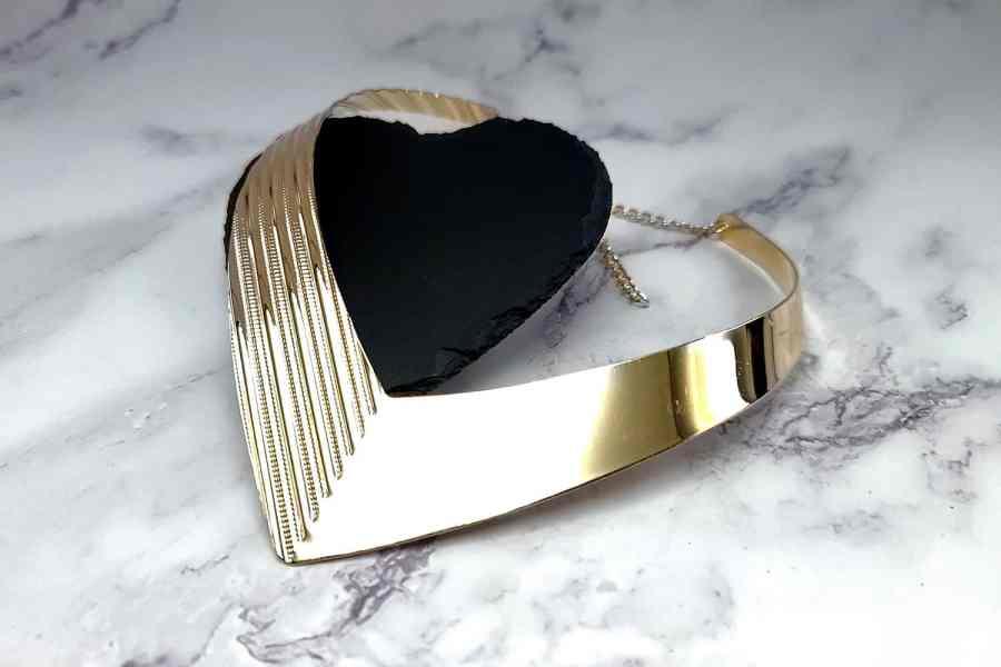 V Shape Golden color metal base necklace 1
