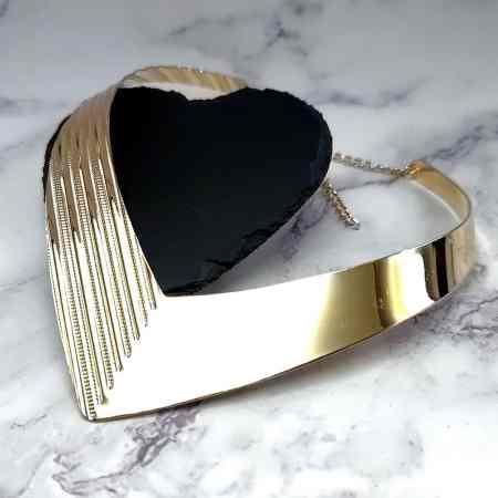 V Shape Golden color metal base necklace