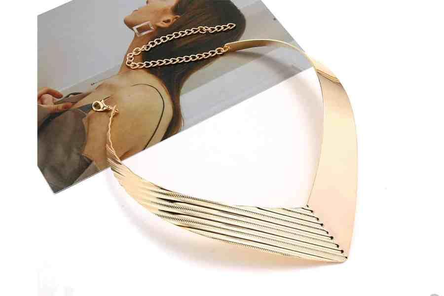 V Shape Golden color metal base necklace 2