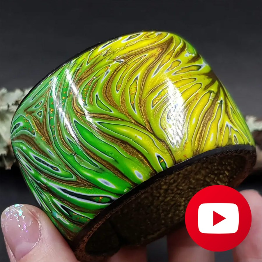 Tropical polymer clay bracelet cuff in one baking