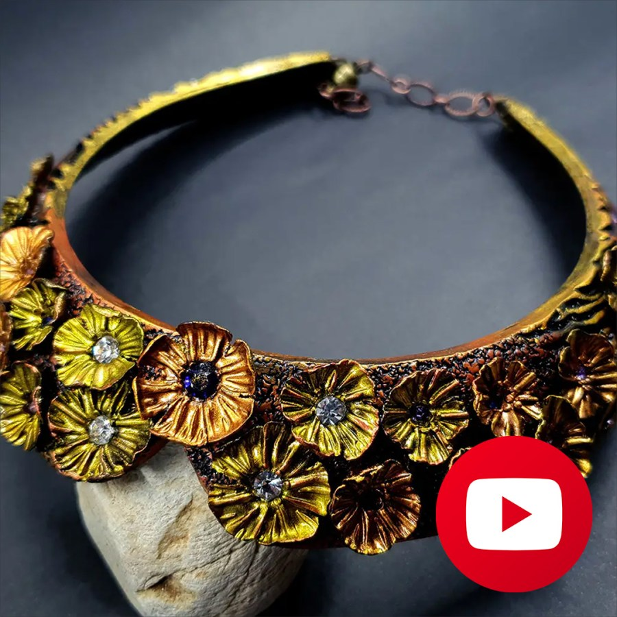 How to make polymer clay faux metal flower necklace