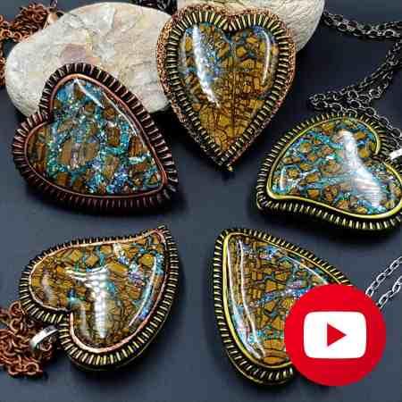 Stone heart pendants with faux boulder opal cabochon