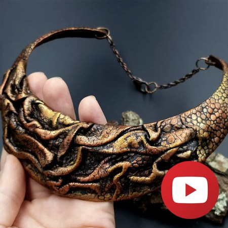 How to make polymer clay folded leather necklace