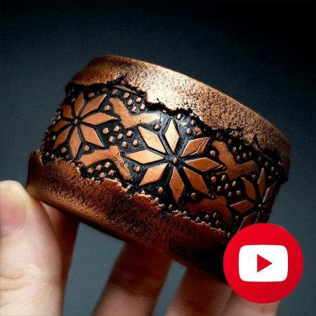 How to make polymer clay faux rustic copper bracelet