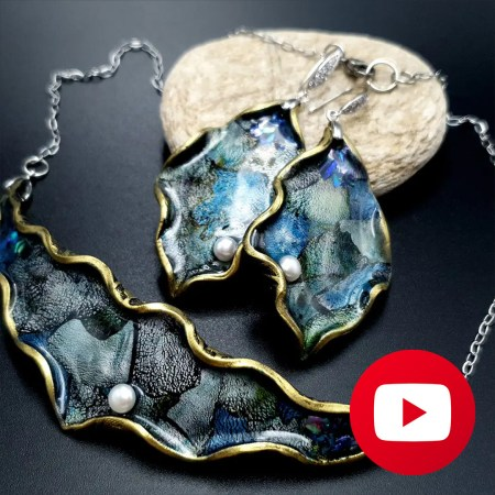 How to make polymer clay Jewelry Set with Nail Foils