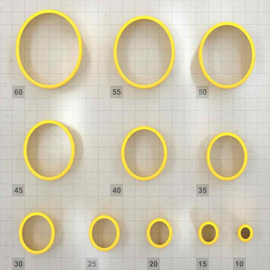 Big set of 11 plastic cutters: OVAL 6:5