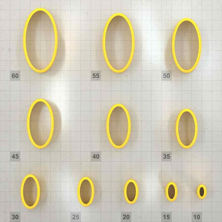 Big set of 11 plastic cutters: OVAL 6:3