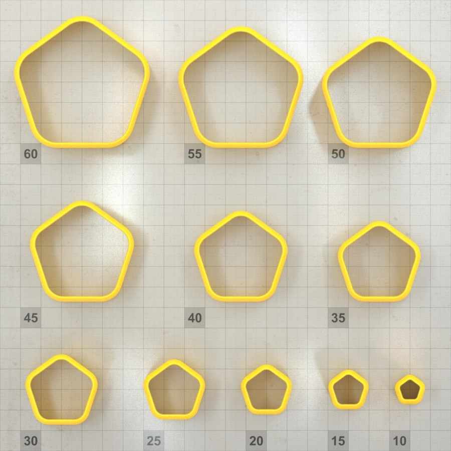 Big set of 11 plastic cutters: ROUNDED PENTAGON