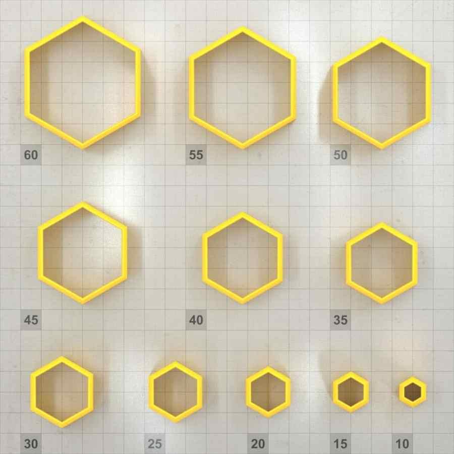 Big set of 11 plastic cutters: HEXAGON