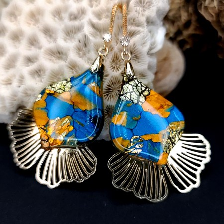 """Romantic Earrings """"Gold and Ice Mosaic"""""""